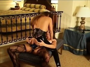 Submissive beauty in lingerie feeds her lust for bondage and pleasure