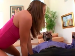 Pretty girl Tori Black can take the dark dick deep into tight pussy