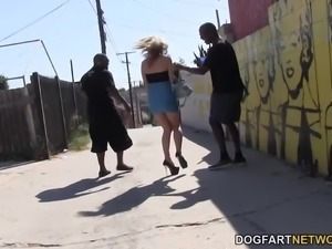 Natasha Starr gets blitzkrieged by both huge black cocks and this interracial...