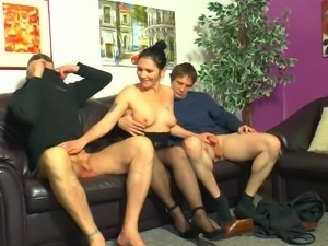 Cute amateur babe lets her neighbors do the threesome drilling