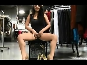 Naughty chick public flash in shopping mall