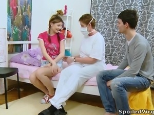 Pigtailed Katia gets nailed in front of a doctor