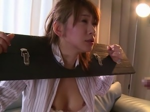 Bondage games with a beautiful Japanese cock slut