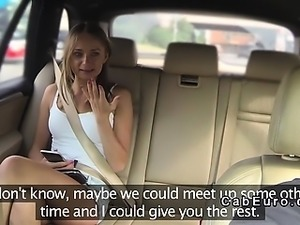 Hairy pussy blonde bangs in fake taxi