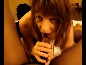 Attractive brunette milf with dark guy drawing his large n