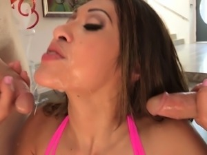 Blowjob queen Jayden Lee does her magic deep throat on three rods