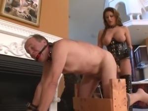Mistress Hard StrapON fuck slave while zaping balls