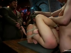 People watch at the tied up girl who gets fucked rough