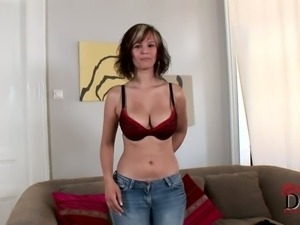 Slutty amateur chick Rita with awesome boobies masturbating on the casting video