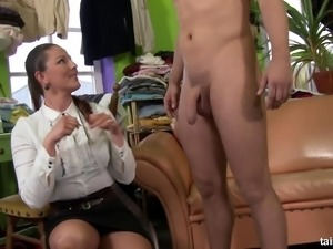 Chick in a blouse and ripped pantyhose pisses on the guy