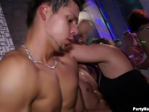 Drunk models randomly grab cocks in their mouths sucking their contents to...