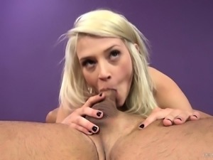 Aubry Gold likes to vibrate her clit when she sucks and gets nailed