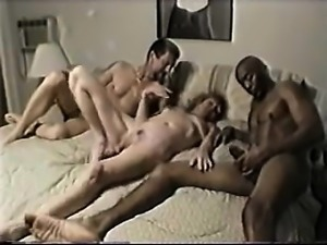 White swingers couple along with a man that is black