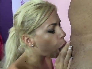 Hot blonde Bibi Noel gives head and vibrates her clit while fucking