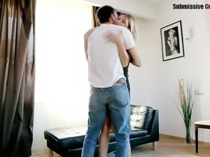 Cuckold boyfriend watches his babe getting bonked from the behind