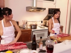 After cooking, two hot chefs get together for a wild, hardcore orgy
