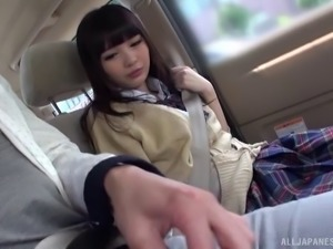 Cardigan and miniskirt cutie sucks a dick in the car