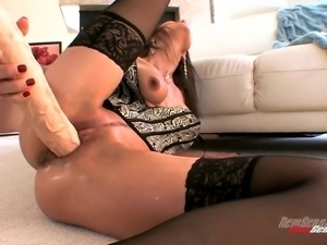 Tasty Nora Noir Plays With A Giant Dildo In A Solo Model Clip