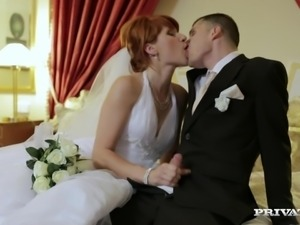 Redhead Bride Lucy Bell Fucks Her Hubby and His Best Man in Threesome