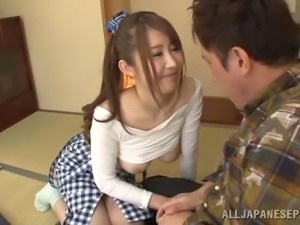 Perky Japanese babe knows what to do to get what she wants
