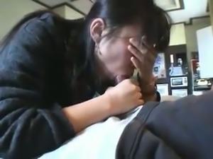 Cute Asian wife sucking my dick deepthroat in POV