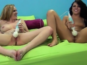 Horny beauties Adriana Chechik and Blake Lovely play with a vibe and a cock...