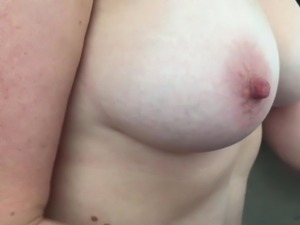 Sexy amateur wife jerking my cock off topless - slow motion