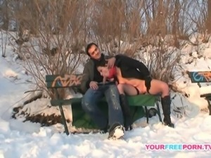Horny couple fucking on the beach in public