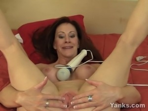 Busty MILF Catherine Vibrating Her Pussy