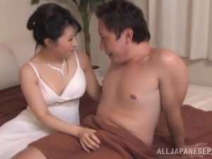 Japanese Wife Pleasing Her Man's Cock with Handjob and Sex