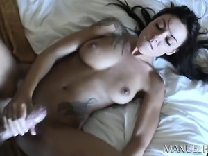 Tattooed brunette with big tits struggles with a long dick up her ass