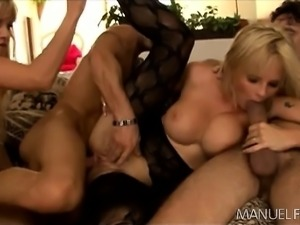 Delightful blondes get their holes roughly pounded by two hung studs