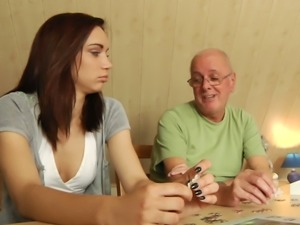 Slender brunette girlie with sweet titties lures old man to get twat teased