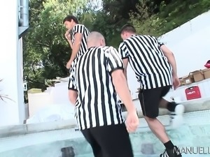 Two fascinating blondes getting pounded hard by a trio of hung studs