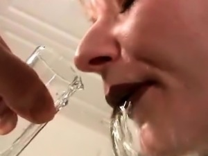 Hot sex slave having one piss shot after another