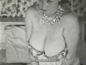 Chesty Mature Lady in Erotic Session (1950s Vintage)