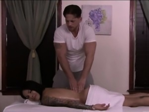 Ts Foxxy sucking off her masseurs cock before riding it hard