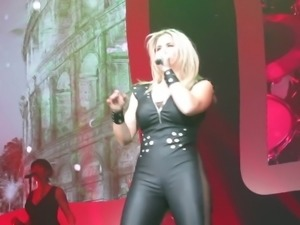 Beatrice Egli Black Latex Dress Shakes Big Ass On Stage