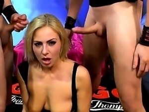 Gangbang bukkakes on busty blonde