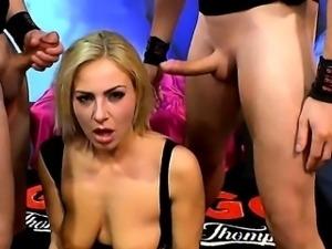 Gangbang bukkakes on busty blonde