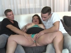 Busty mature mom fucks two young sons