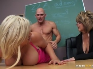 Teacher shows a chunky blonde girl how to suck a man's cock