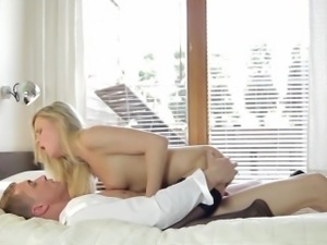 Foxing blonde in nylon stockings rides him then goes doggy style