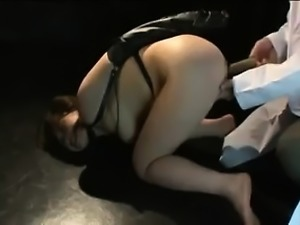 Hot Asian MILF is tied up and fucked with a dildo and squir