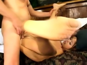 Tiny-titted slut gets her love holes abused in a wild double penetration