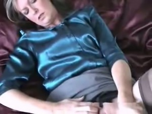 Classy sexy Lady and her glass dildo toy