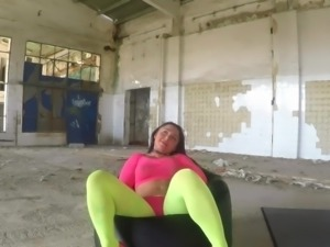 Deborah well fucked in fluo yellow ripped pantyhose