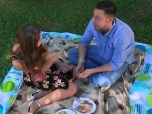 Lovely woman fucks her lover during an amazing picnic
