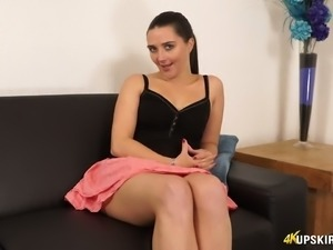 Beautiful girl showing her pussy upskirt in teasing video