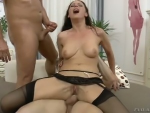 Raven haired spoiled MILF Martina Gold gets double penetrated hard